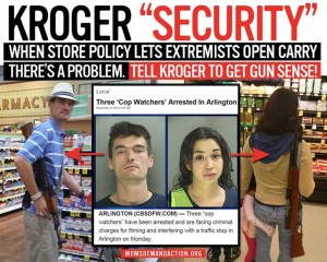 Moms Demand Action is using mug shots of two open carry advocates arrested for interfering with a traffic stop in their campaign to convince Kroger to tighten their gun policy. (Graphic: Moms Demand Action)