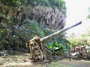 only guns on the island were left behind by the Japanese military in World War II. (Photo: Tripadvisor)