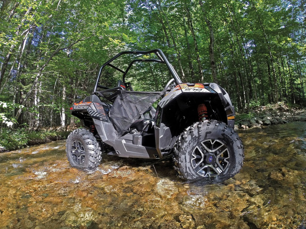 The ACE is unique in the fact that it provides the nimble dimensions of an ATV, while providing the riding experience and full-roll-cage security levels of a UTV. We love the concept, and we're guessing it could be exactly what many outdoorsman have been waiting for. Dry weight comes in at 881-lbs., which is a little over 100-lbs. more than the company's Sportsman 850 ATV.