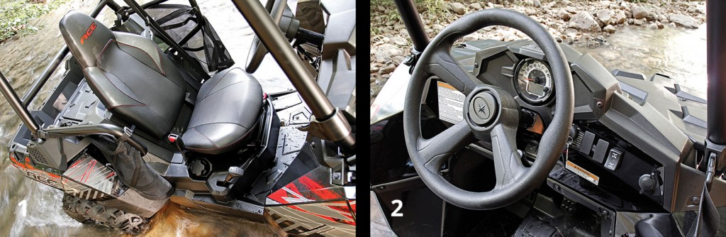 1. In the cockpit you'll find a bolstered bucket seat that appears like it was borrowed directly from the company's RZR line. Speaking of RZR's, operators of larger stature will not only find the ACE easier climb in and out of, but once seated, they'll be noticeably more comfortable with the cockpit dimensions. Legroom is adjustable via a seat slider, and steering through a lever and shock-assisted tilt mechanism. The right-side-mounted transmission shifter proved easy to reach and operate. 2. The single gauge pod includes a combination analog speedometer/digital readout—the latter providing readouts on the odometer, tachometer, tripmeter, gear indicator, fuel gauge, AWD indicator and hi-temp/low-battery lights. A keyed ignition switch, AWD selector and DC accessory power port all sit within arms reach on the right side of the dash.