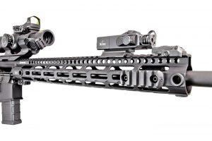 "The 15"" midwest industries SSM M-Lok handguard carries a skeletal, minimalistic profile."