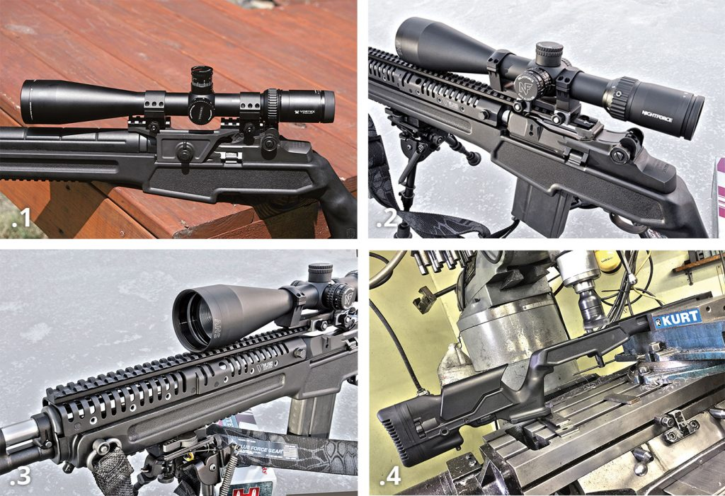 1—Mas used a Vortex Viper 6-25x50mm scope and Springfield armory 4th gen mount throughout testing. 2—on target's version of the rifle was equipped with a vltoR casv-14 optics rail and nightforce SHV scope. 3—made from lightweight aircraft-grade aluminum, and Av ailable in black, tan and foliage-green, the Vltor casv-14 not only facilitates solid primary-optic mounting on the m1a/m14 platforms, but also opens the door to secondary night vision and accessory mounting. 4—while the casv-14 rail will not interfere with standard wood or fiberglass stocks, using it with the archangel stock meant shaving a bit of material from the top of the forend.