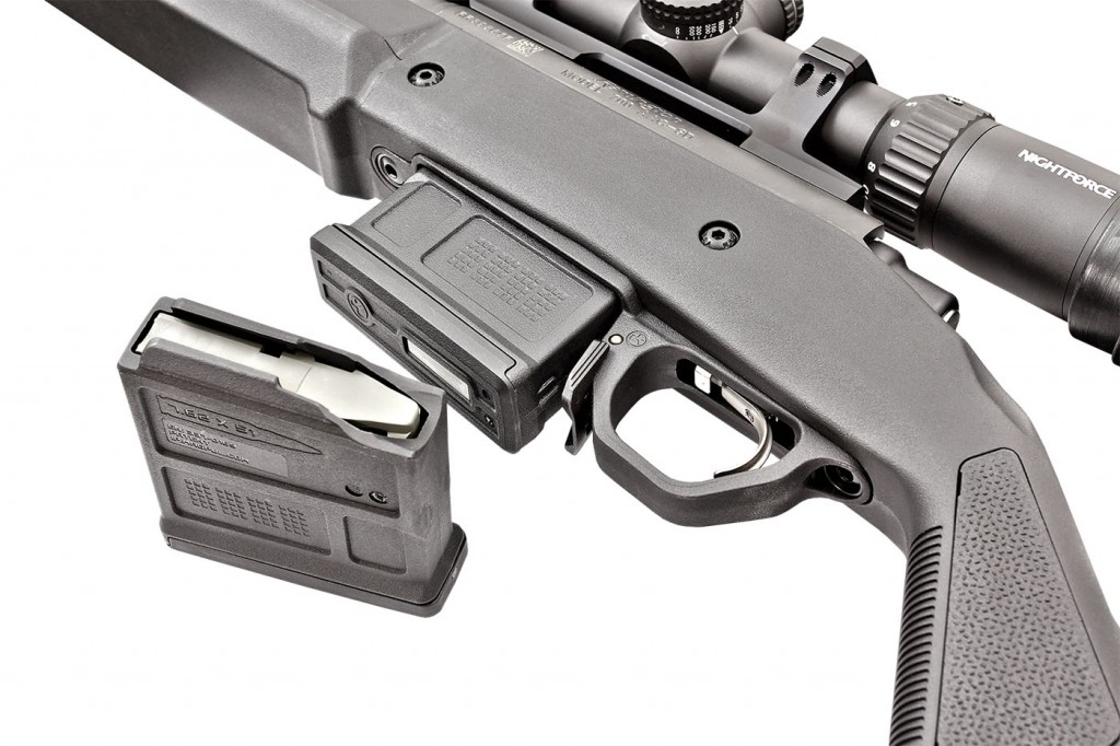 The hunter stock will work with the factory hinged floorplate, but Magpul also offers this detachable PMAG 5 magazine/floorplate kit.