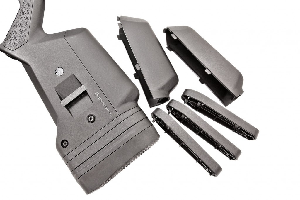 """length-of-pull spacers are included for fine tuning. If the standard cheek riser won't work, magpul offers a riser kit separately, which includes 0.50"""" and one 0.75"""" riser. Multiple slingmounting options are present front and rear."""