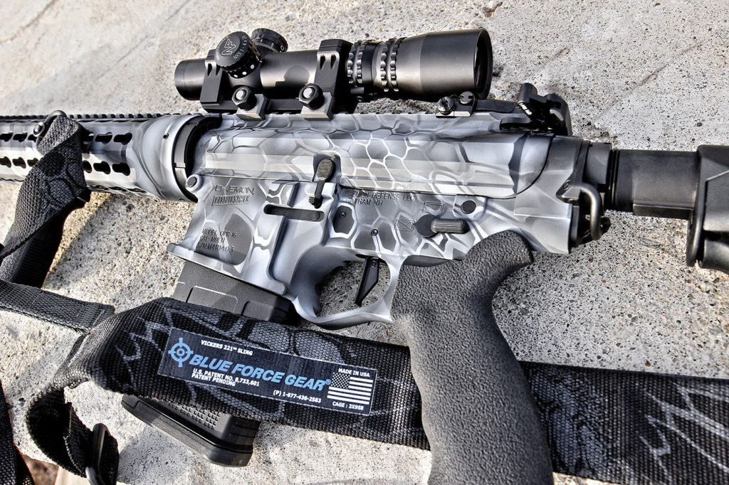 The billet aluminum lower receiver houses a Geissele Super Dynamic Enhanced two-stage trigger group, ambi selector switch, raised bolt catch, and is fitted with an overmolded-rubber Ergo Grip. We used a Nightforce NXS 1-4x scope and Blue Force gear padded vickers sling throughout the majority of testing.