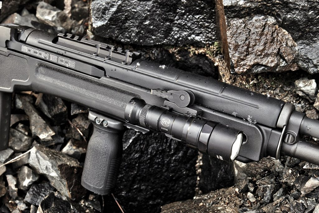 Further modernizing the rifle is an M-LOK compatible forend—with attacment slots on the sides and bottom—letting you install any M-LOK accessory needed. Three Picatinny rail sections are included; two of which we used to mount a SureFire M300 Mini Scout weaponlight and Magpul RVG vertical grip. Also visible is the barrel-mounted Picatinny optics base, which is standard equipment regardless of whether or not you opt for the reciever-mounted Vortex optic.