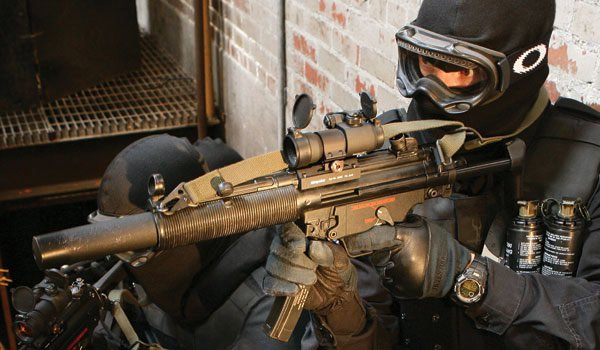 Firing the MP5 SD with Gas Mask
