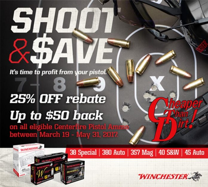 Cheaper Than Dirt Center fire Pistol Ammo Sale 25% off rebate, up to