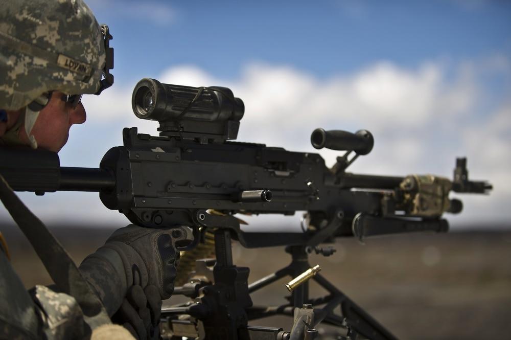 1st Battalion, 21st Infantry Regiment, 2nd Stryker Brigade Combat Team, 25th Infantry Division, Schofield Barracks, Hawaii, fires a M240L Medium Machine Gun Sept. 19, 2012