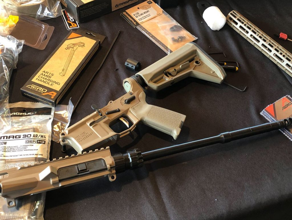 """Aero Precision Ballistic Advantage and  Rise Armament all forming this compact 14.5"""" barreled AR going to be topped with an eotech VUDU 1-6x scope"""