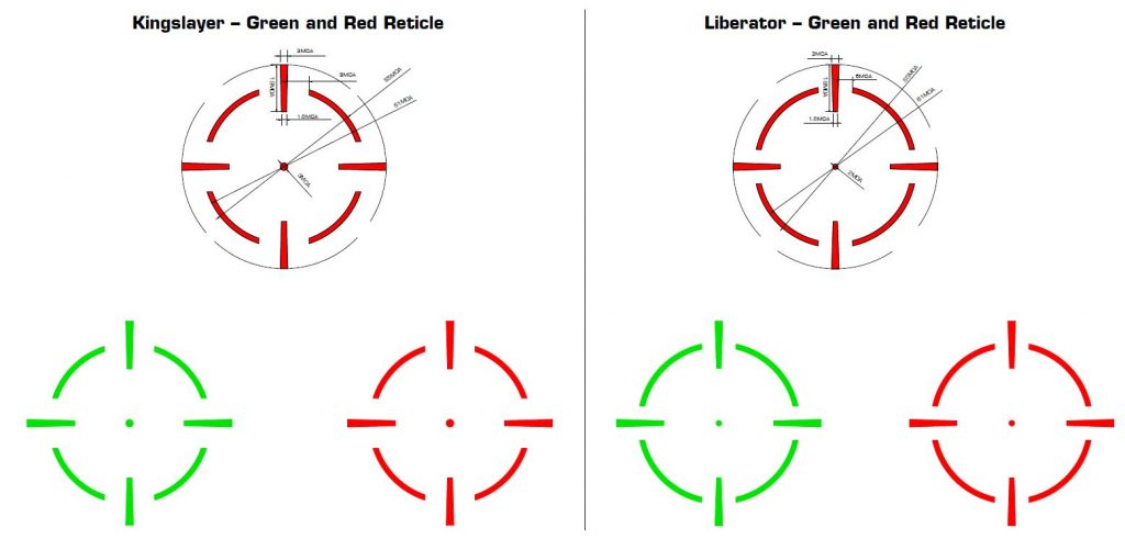 Kingslayer and Liberator reticle selection from Swampfox Optics