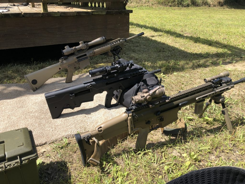 Tavor 7 SCAR 17 and Knight's Armament SR25/M110 with various optics. US Optics TS-8X on the Tavor 7