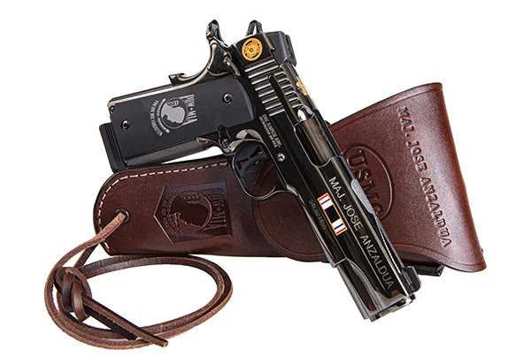 Sigs Commemorative 1911 for Major Anzaldua with DeSantis Holster