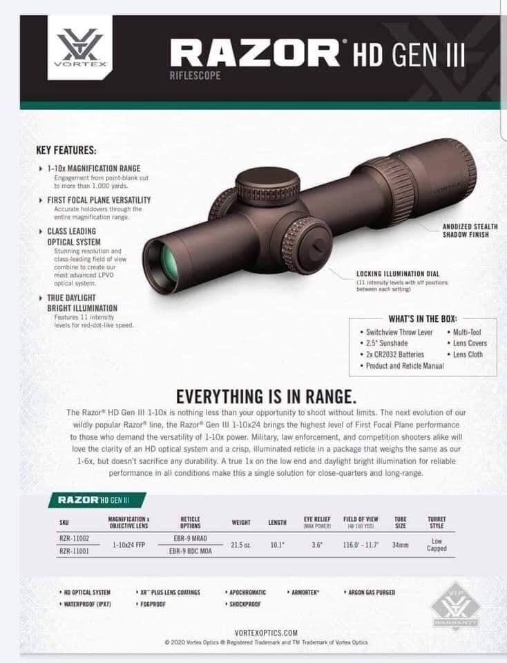 Razor HD Gen III Spec sheet