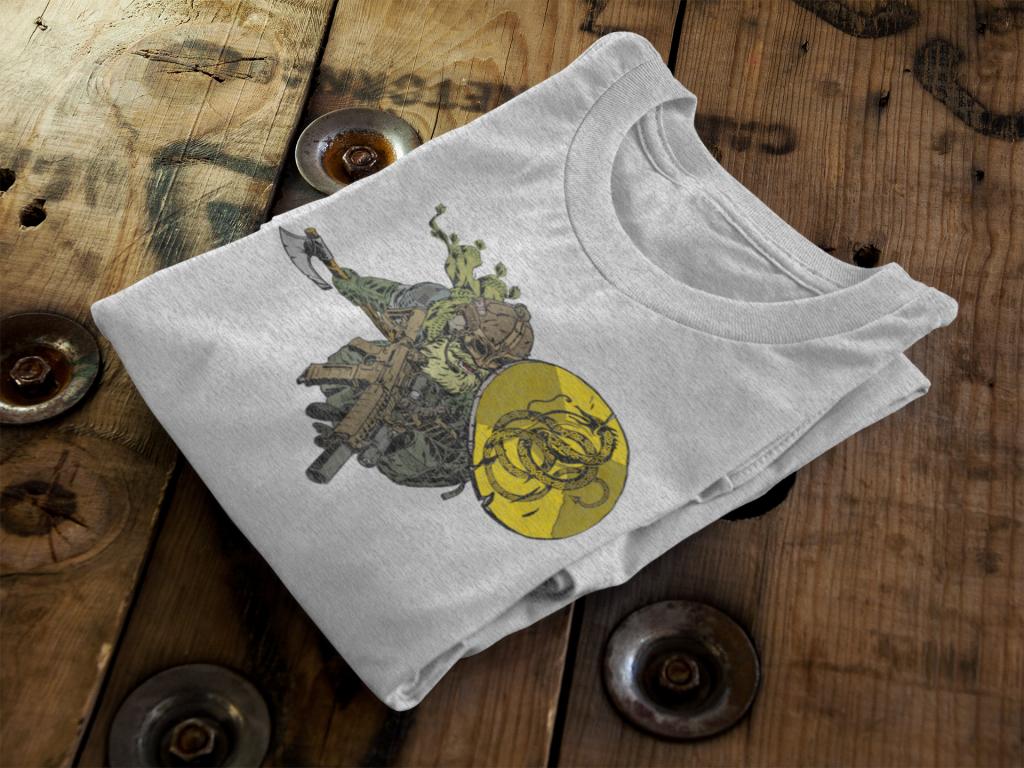 Viking and Gadsden flag on Anachrobellum shirt